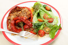 Stuffed peppers meal high angle Stock Photography