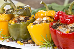 Stuffed Peppers (with Meat, Herbs and Cheese) Stock Images