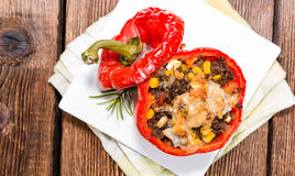 Stuffed Peppers (with Meat, Herbs and Cheese) Stock Photos