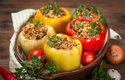 Stuffed peppers with meat and rice stock photography