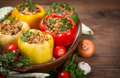 Stuffed peppers with meat and rice royalty free stock photo