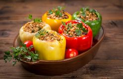 Stuffed peppers with meat and rice stock images