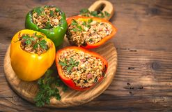 Stuffed peppers with meat and rice royalty free stock image