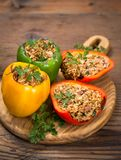 Stuffed peppers with meat and rice royalty free stock photos