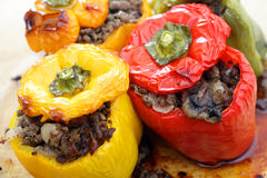 Stuffed peppers from the oven stock photo