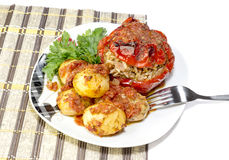 The stuffed peppers with potatoes stock photo