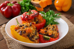 Stuffed peppers with rice, beans and pumpkin Royalty Free Stock Images