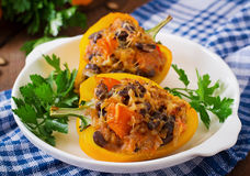 Stuffed peppers with rice, beans and pumpkin Royalty Free Stock Image