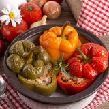 Stuffed peppers with rice Stock Photos