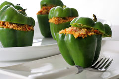 Stuffed peppers with roasted vegetable couscous Stock Photo
