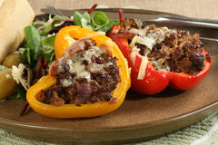Stuffed peppers with salad Royalty Free Stock Images