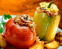 Stuffed peppers and tomato Royalty Free Stock Photography