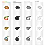 Stuffed peppers, a vegetarian sandwich with cheese, a vegetable pie, a cottage cheese with berries. Vegetarian dishes. Set collection icons in cartoon black Royalty Free Stock Photos