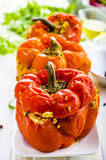 Stuffed peppers. On a white table Stock Photo