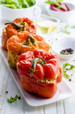 Stuffed peppers. On a white table Stock Image