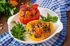 Free Stuffed Peppers With Rice, Beans And Pumpkin Stock Images - 58654324