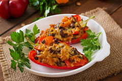 Free Stuffed Peppers With Rice, Beans And Pumpkin Stock Photography - 58654352