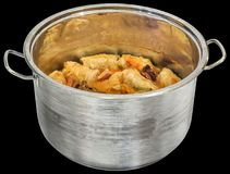 Stuffed Pickled Cabbage Rolls Sarma Cooked With Smoked Pork Ribs In Large Stainless Steel Saucepot Isolated On Black Background. Traditional Serbian Gourmet Stock Photos