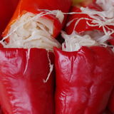 Stuffed pickled red peppers Stock Image