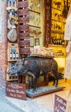 A stuffed pig in an Italian delicatessen royalty free stock image