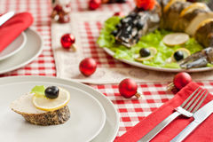 Free Stuffed Pike Diced Into Pieces On New Year Table Royalty Free Stock Photography - 16525767