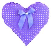 Stuffed pink gingham heart with white dots, bow and a crystal heart isolated on white background. Soft purple heart with violet ri stock images