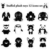 Stuffed plush toys 12 simple icons set stock illustration