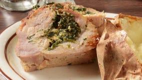Stuffed pork roast stock video footage