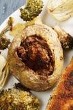 Stuffed potato overhead Royalty Free Stock Image