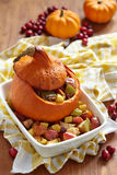 Stuffed pumpkin with fruits Stock Photography