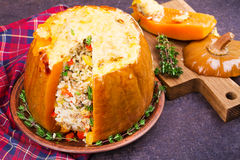 Stuffed pumpkin with meat, rice, mushrooms,  pepper and thyme. Baked butternut squash with rice Stock Photography