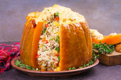 Stuffed pumpkin with meat, rice, mushrooms,  pepper and thyme Stock Photography