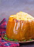 Stuffed pumpkin with meat, rice, mushrooms,  pepper and thyme Royalty Free Stock Photography