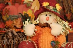 Stuffed pumpkin scarecrow royalty free stock photo