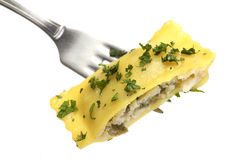 Stuffed Ravioli On A Fork Stock Photo