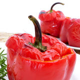 Stuffed red bell peppers Stock Photos