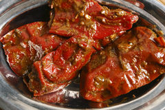 Stuffed Red Chilli Pickle from North India stock image