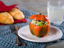 Stuffed red pepper with broccoli salad stock photos