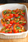 Stuffed red peppers Royalty Free Stock Photos