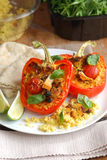 Stuffed red peppers Royalty Free Stock Photography