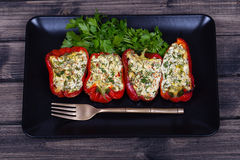 Stuffed red peppers in black plate Stock Images