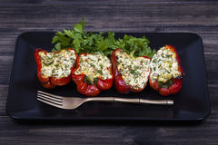 Stuffed red peppers in black plate Royalty Free Stock Photo