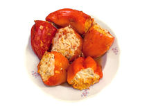 Stuffed with red peppers on a plate Stock Image