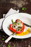 Stuffed red sweet bell pepper with minced pork and beef, onion, carrot baked with parmesan cheese in a plate Royalty Free Stock Photos