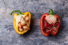 Stuffed red and yellow paprika Royalty Free Stock Photo