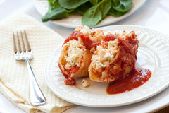 Stuffed Ricotta Cheese Shells royalty free stock photos