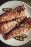 Stuffed rockcod. Fried shad with chilli, australian fish Royalty Free Stock Image