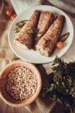 Stuffed rockcod. Fried shad with chilli, australian fish Stock Photography