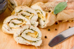 Stuffed roll of chicken with cheese and sage Royalty Free Stock Photo