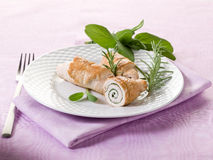 Stuffed roll of turkey with sage Royalty Free Stock Images